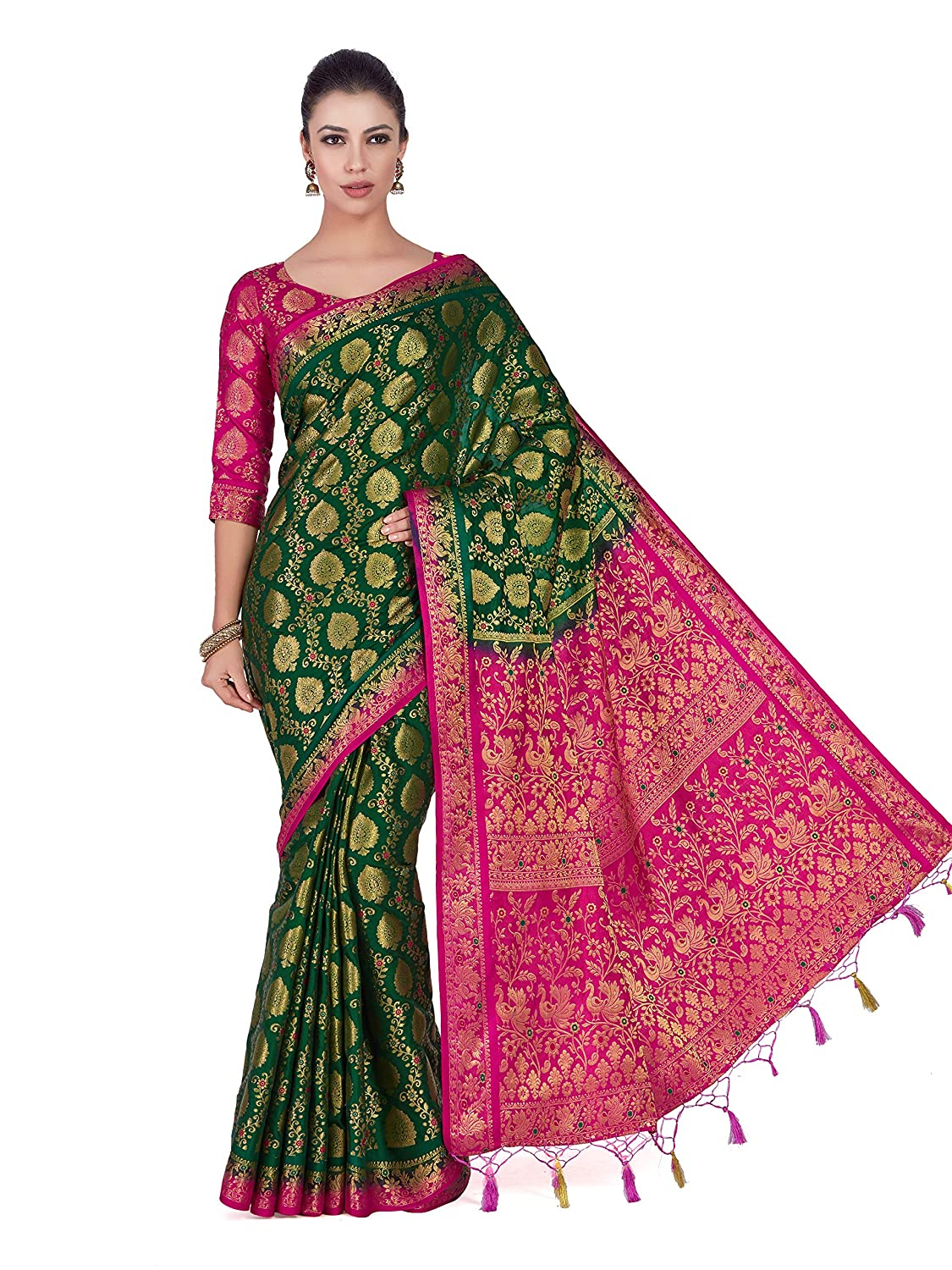 478127ae8cbfed Mimosa Art silk saree Kanjivarm Pattu style With Contrast Blouse Color   Green (4282-65-2D-BGRN-RNI)  Amazon.in  Clothing   Accessories