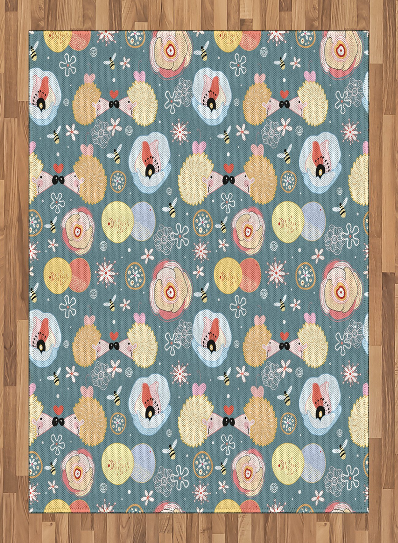 Kids Area Rug by Lunarable, Cute Hedgehogs Kissing Hearts Love Bees Flowers Cheerful Happy Baby Artwork Image, Flat Woven Accent Rug for Living Room Bedroom Dining Room, 5.2 x 7.5 FT, Multicolor by Lunarable (Image #1)