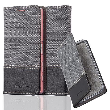 Cadorabo Hülle für Sony Xperia Z5 COMPACT - Hülle in GRAU SCHWARZ – Handyhülle mit Standfunktion und Kartenfach im Stoff Desi