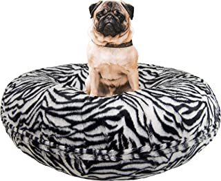product image for BESSIE AND BARNIE Signature Zebra Luxury Extra Plush Faux Fur Bagel Pet/Dog Bed (Multiple Sizes)