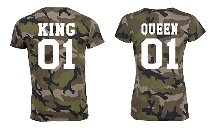 TRVPPY Pareja 2X Camiseta Camouflage T-Shirt/Modelo King & Queen/para Hombre