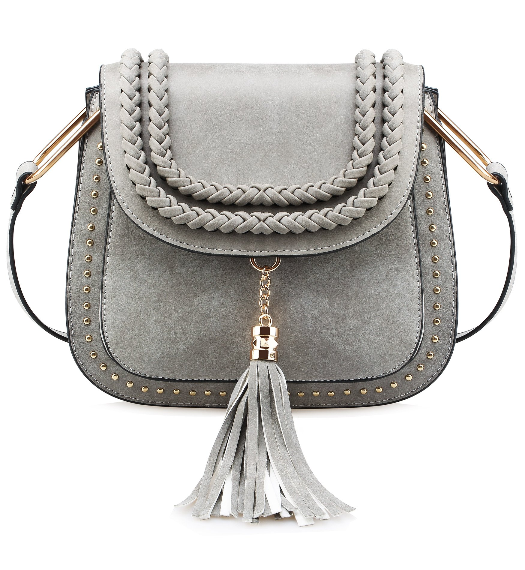Tom Clovers Womens Vintage Tassel Saddle Shoulder Bag Crossbody Bag Sling Bag Shopping Travel Satchel Grey