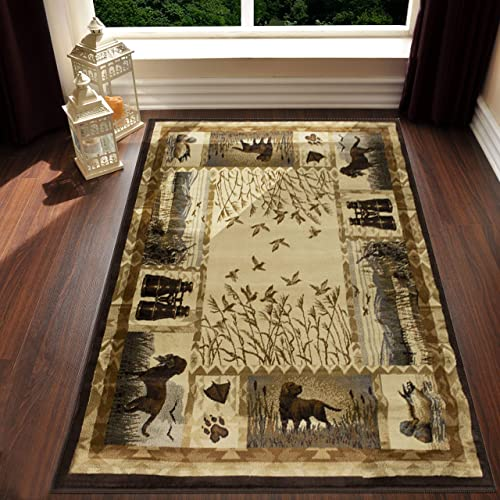 Lodge, Cabin Hunting Accent Area Rug Modern Geometric Design Cabin Area Rug Abstract, Multicolor Design Hunting Dogs Duck Magnifier