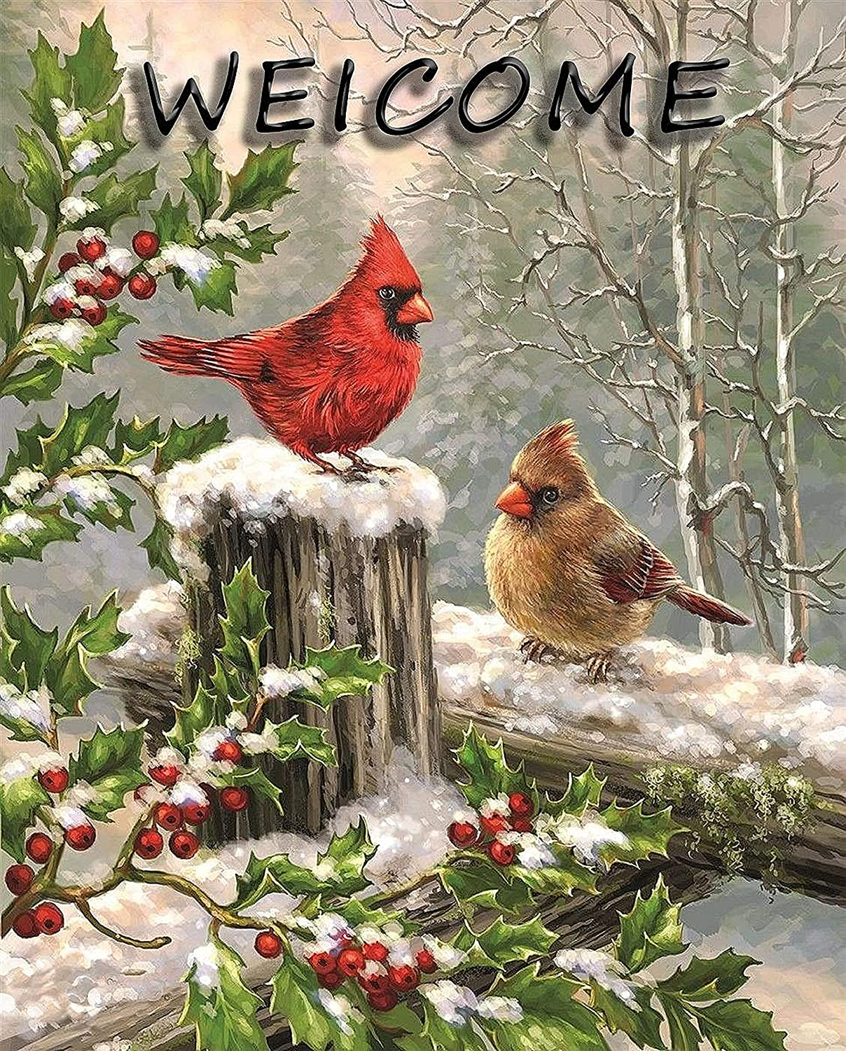 Cardinal Garden Flag, Winter Spring Home Decorative House Cardinal Yard Flag Red Bird Maple Leaf Decor Double Sided, Winter Outdoor Welcome Decorations Seasonal Outside Winter Garden Flag 12 x 18 Inch