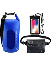 Freegrace Waterproof Dry Bags Set of 3 - Dry Bag with 2 Zip Lock Seals & Detachable Shoulder Strap, Waist Pouch & Phone Case - Can Be Submerged Into Water for Swimming, Kayak, Rafting & Boating