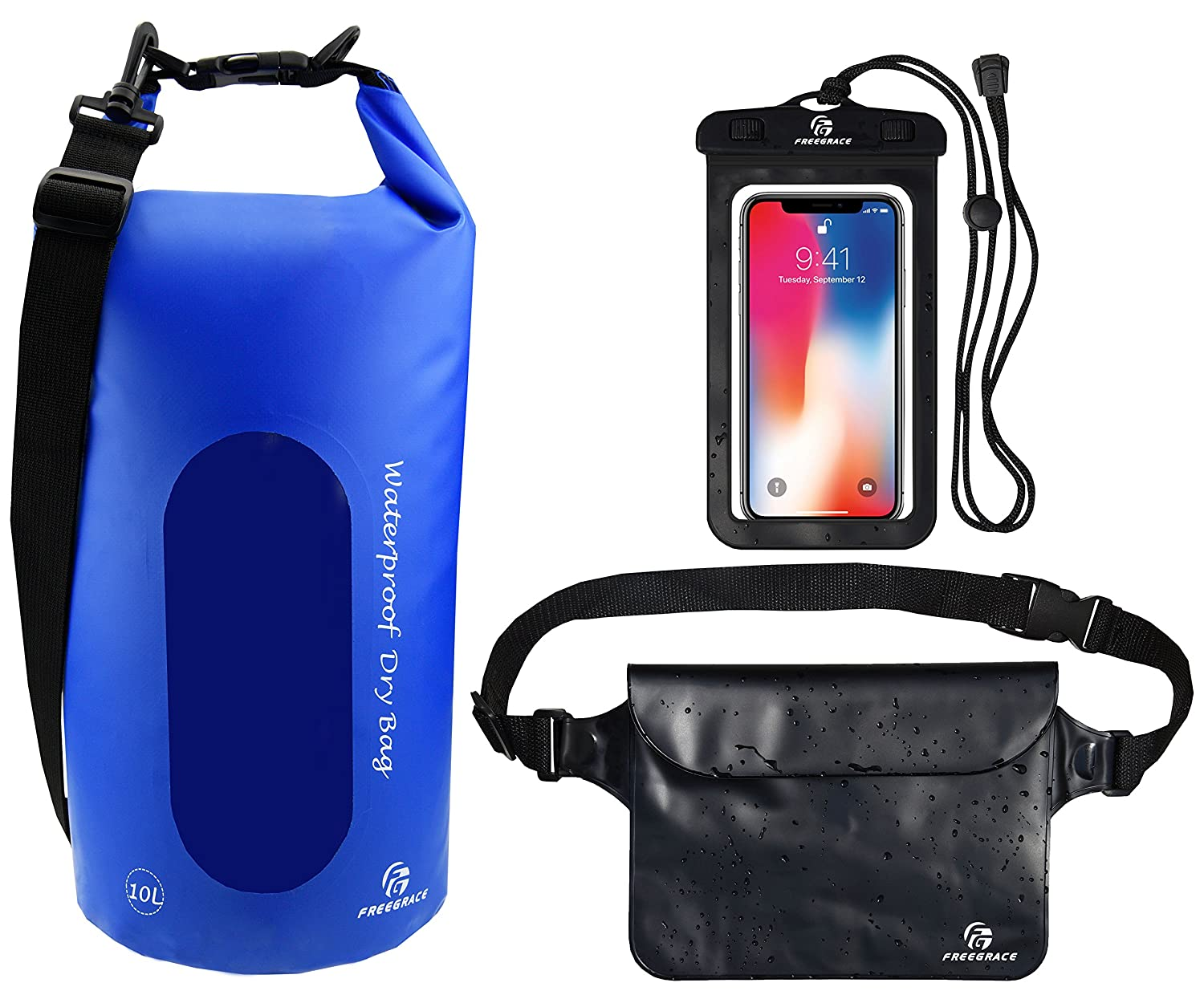 Freegrace Waterproof Dry Bags Set of 3 Dry Bag 2 Zip Lock Seals Detachable Shoulder Strap Waist Pouch Phone Case Can Be Submerged Into Water Swimming Kayak Rafting Boating