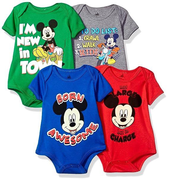 Disney Baby Mickey Mouse - Body de Manga Corta (4 Unidades) 58c6634cdb90