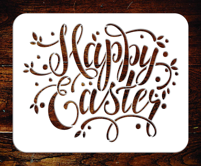 Happy Easter ステンシル - 再利用可能なイースターサインの言葉 壁ステンシルテンプレート - ペーパープロジェクト、スクラップブックジャーナル、壁、床、ファブリック家具、ガラスなどに M LN2440M M  B07RL1HPY8