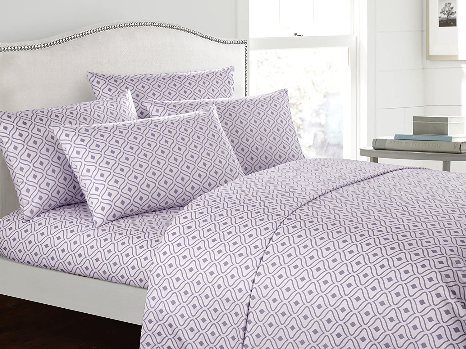 Twin Navy Includes Flat /& Fitted Sheets and Bonus Pillowcases Chic Home Ayala 4 Piece Set Super Soft Two-Tone Diamond Print Geometric Pattern Deep Pocket Design
