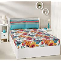 Amazon Brand - Solimo Floral Splash 144 TC 100% Cotton Double Bedsheet with 2 Pillow Covers