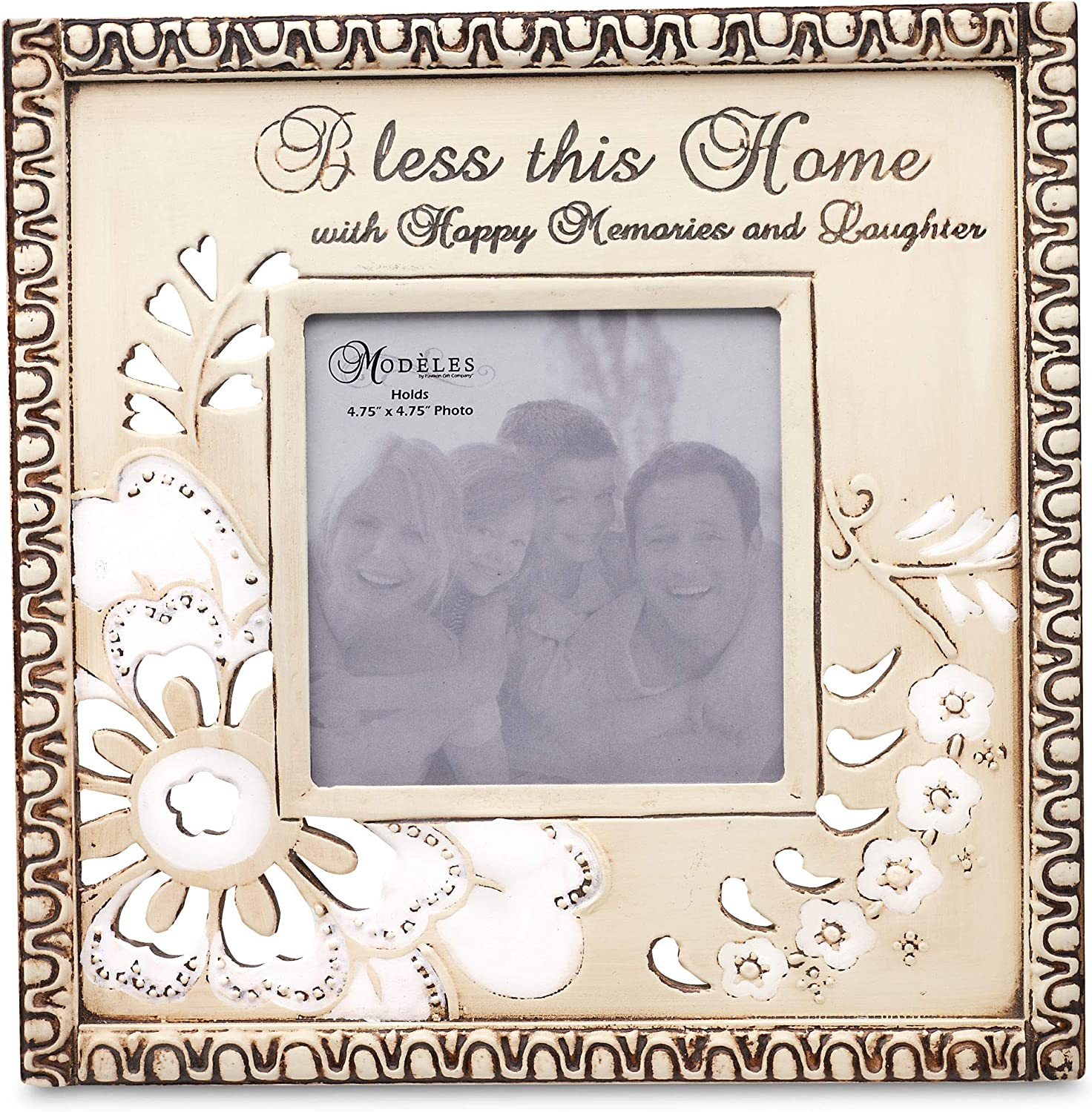 Pavilion Gift Company Modeles 88026, 9.5-Inch X 9.5-Inch Photo Frame, Holds 4.75-Inch X 4.75-Inch Photo, Bless This Home Sentiment