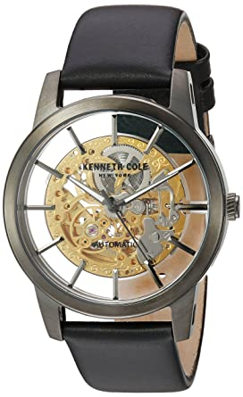 cbf14686a Image Unavailable. Image not available for. Color: Kenneth Cole New York  Men's Stainless Steel Japanese-Automatic Watch with Leather Strap, Black