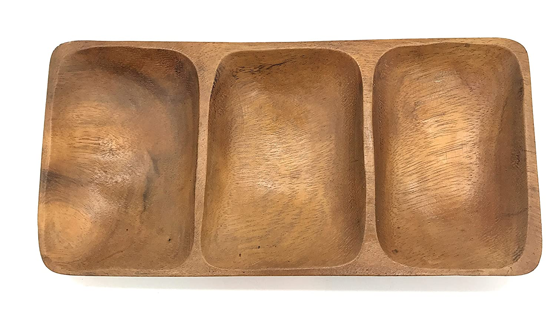 SDS Home Imports Handcrafted Hawaiin Latin Style Acacia Wood 3 Hole Sauce Bowl Kitchen Tray 9x4.5x1