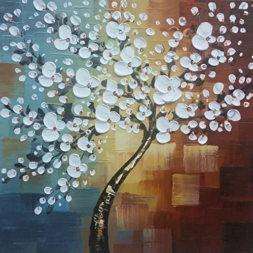 Wieco Art Large Modern Abstract White Flowers Oil Paintings on Canvas Wall Art Morning Glory 100 Hand Painted Floral Gallery Wrapped Artwork for Living Room Bedroom Home Office Decor FL1089-8080