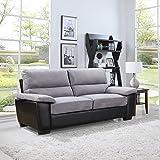 Divano Roma Classic Soft Microfiber and Bonded Leather Living Room Furniture (Sofa, Grey)