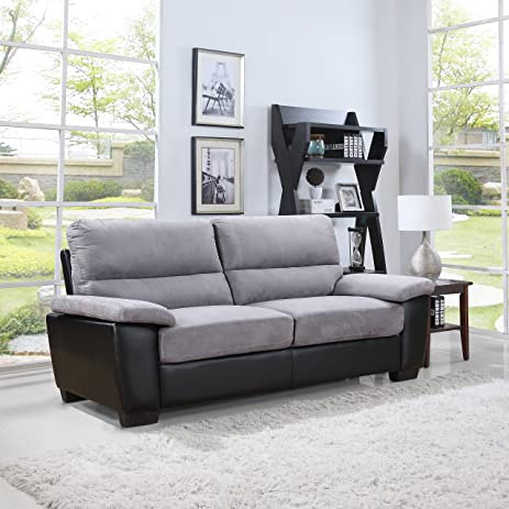 Divano Roma Classic Soft Microfiber And Bonded Leather Living Room Furniture  (Sofa, Grey) Part 84