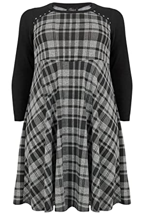 537f49906a294 Yours Women s Plus Size Limited Collection Black   Checked Skater Dress  with Eyelet De Size 16