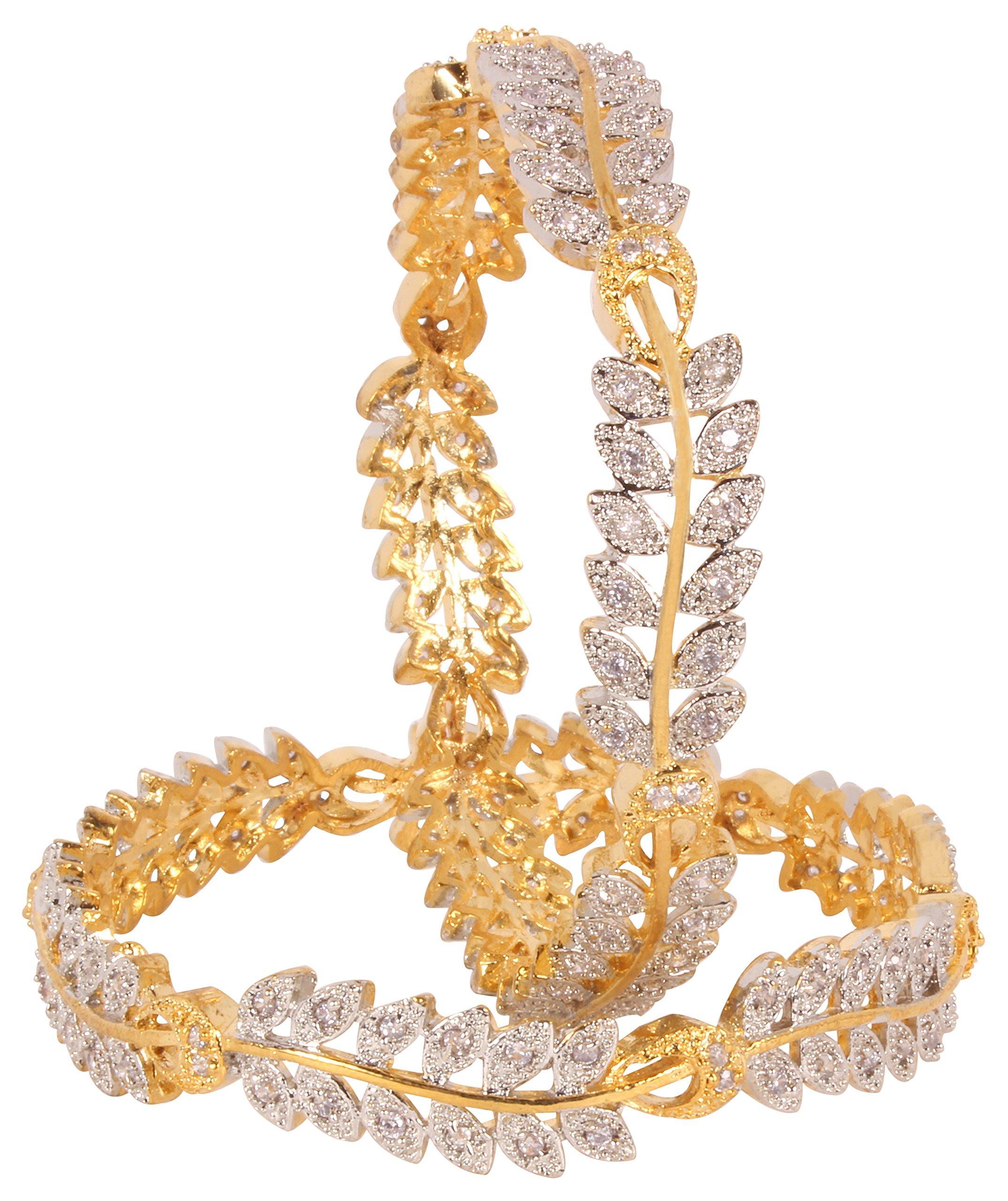 Wedding wear Style CZ Stone Indian Bangle Partywear Ethnic Jewellerry (2.8)