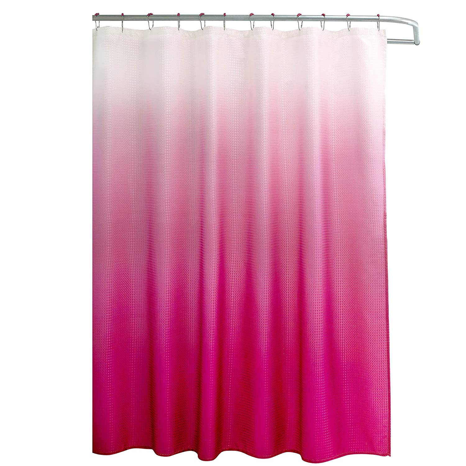 Light pink ruffle shower curtain - Amazon Com Creative Home Ideas Ombre Textured Shower Curtain With Beaded Rings Fuchsia Home Kitchen