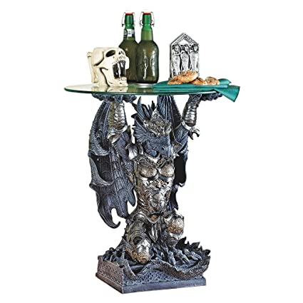 Design Toscano Hastings, The Warrior Dragon Glass Topped Sculptural Table