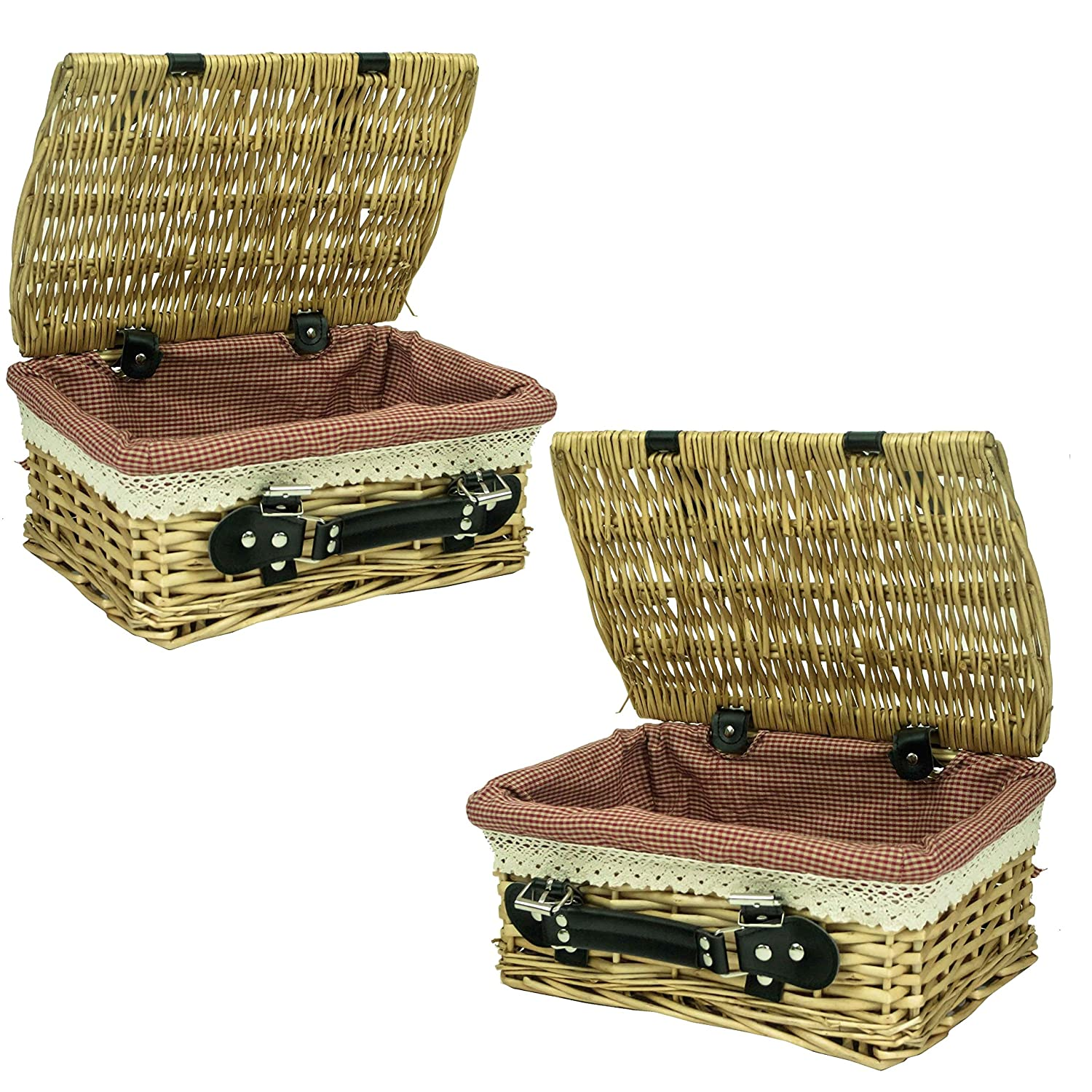 east2eden Honey Wicker Lidded Hamper Basket with Leather Handle and Red Gingham Lace Lining (Set of 2 Small) e2e