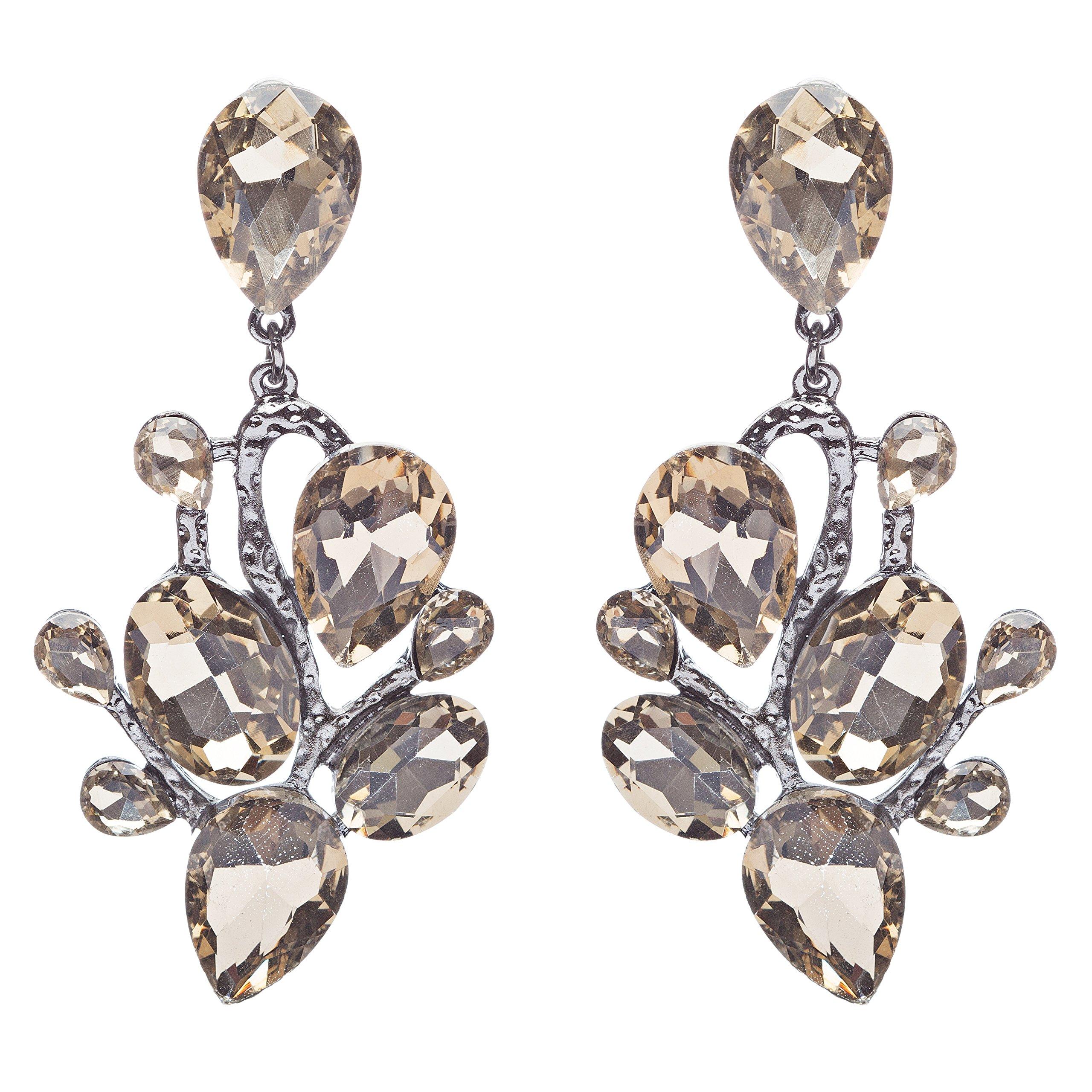 Beautiful Shiny Dazzling Multi Shapes Glass Stones Dangle Earrings E757 Brown