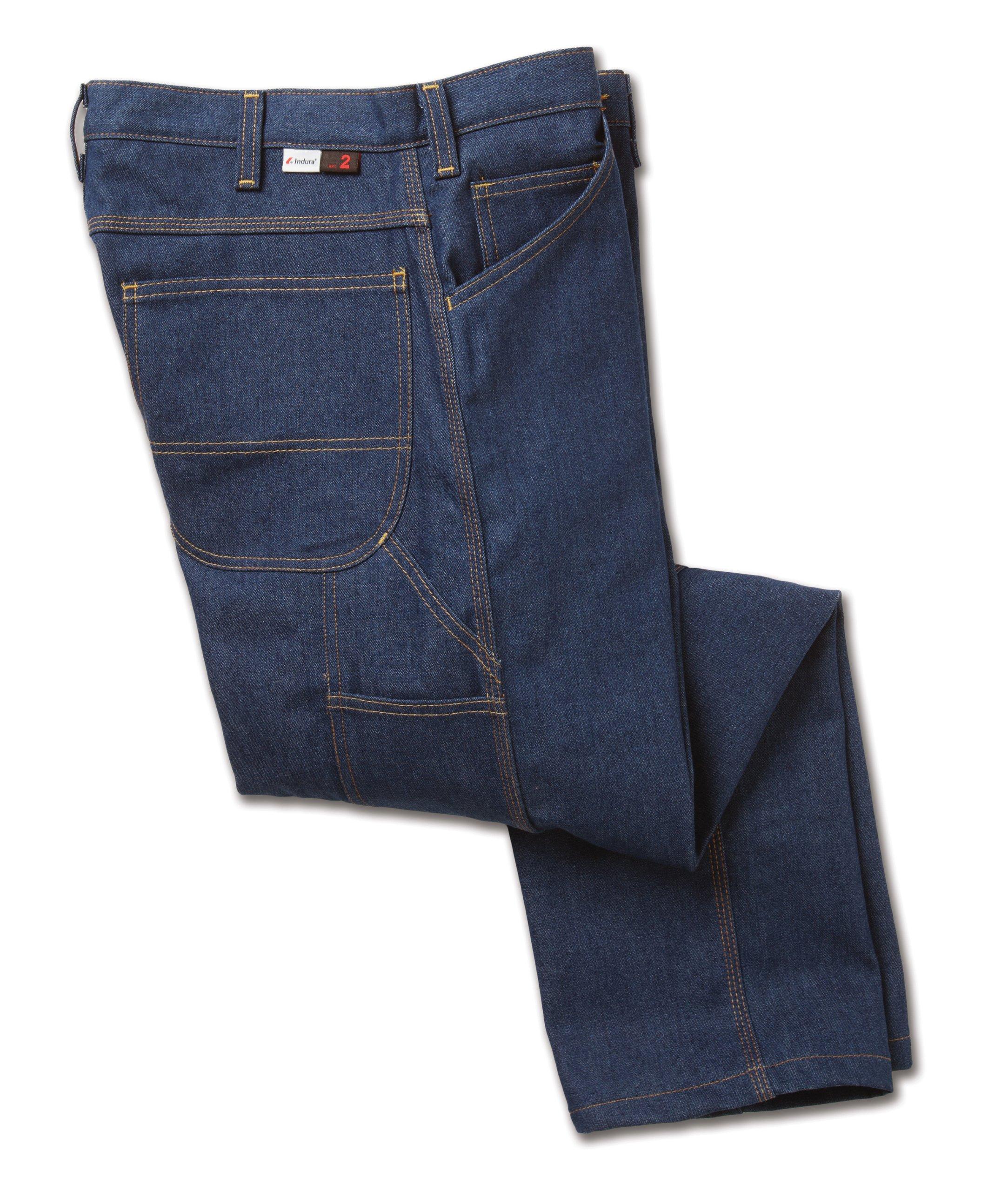 Workrite 496ID12SD38-30 Flame Resistant 12 oz Indura Carpenter Jean Pant, 38 Waist Size, 30 Inseam, Soft Denim