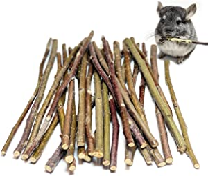 ECOVENIK Apple Sticks Rabbit & Hamster Chew Toys - 100% Natural & Organic Chinchilla Food Treats for Guinea Pig, Squirrels, Parrots & Other Small Animals - Cage Accessories for Bunnies