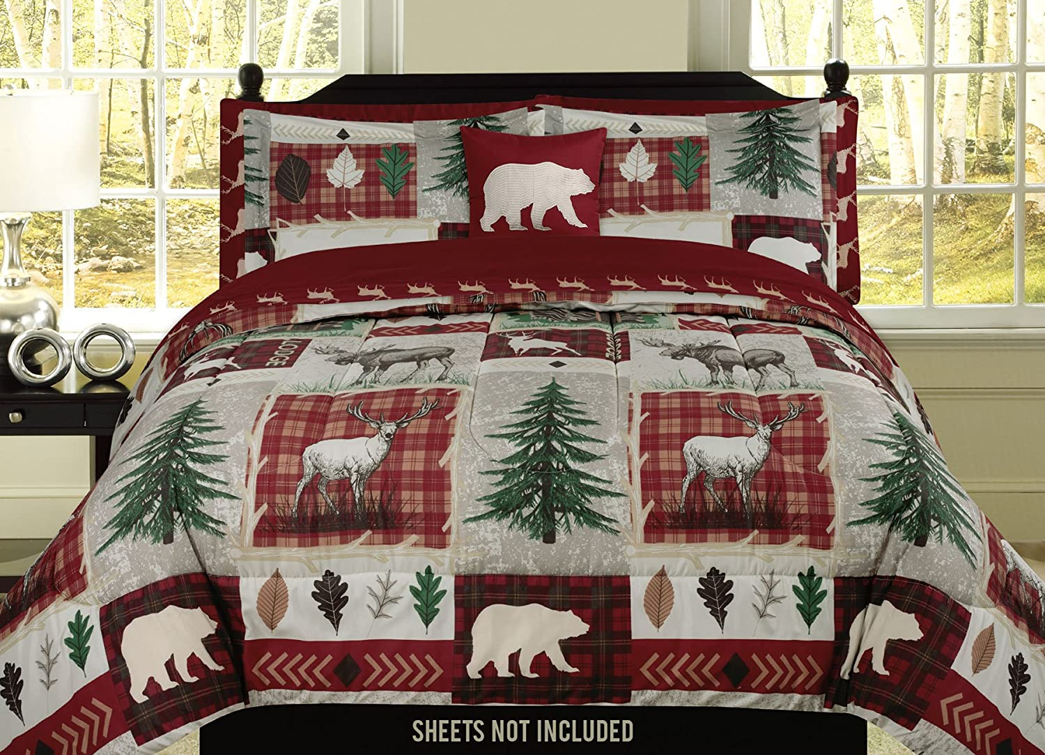 Queen Twin Quilt Bed Set or Curtain Pair Bear Elk Log Cabin Lodge Rustic King