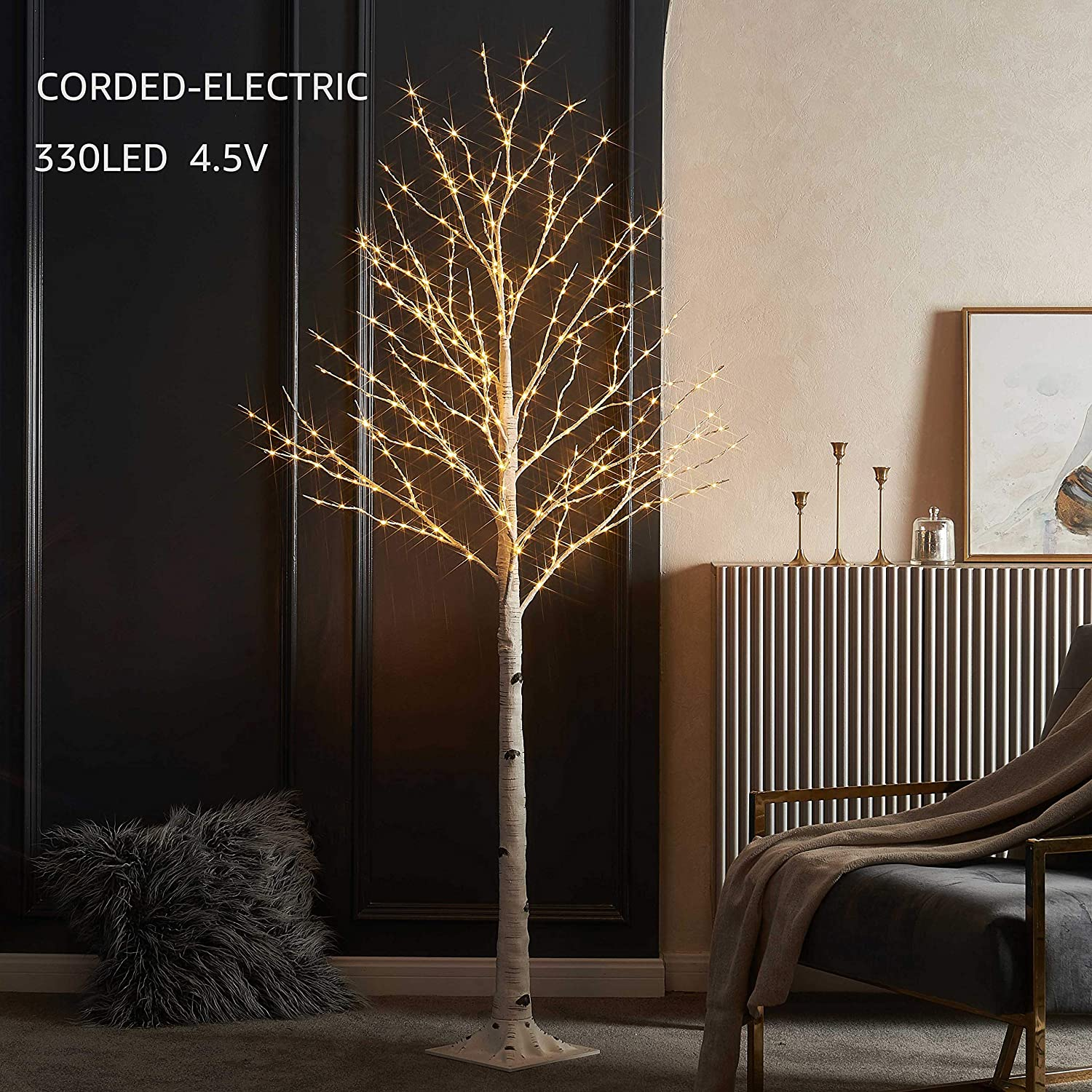 LITBLOOM Lighted Twig Birch Tree with Fairy Lights 6FT 330 Warm White LED for Indoor Outdoor Home Decoration
