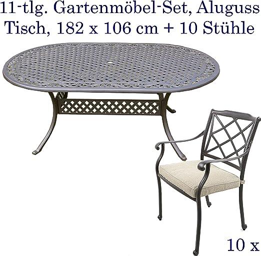 Aluminio Fundido Juego de muebles de jardín muebles de jardín, de edredón de jardín mesa 182 x 106 cm y: Amazon.es: Jardín