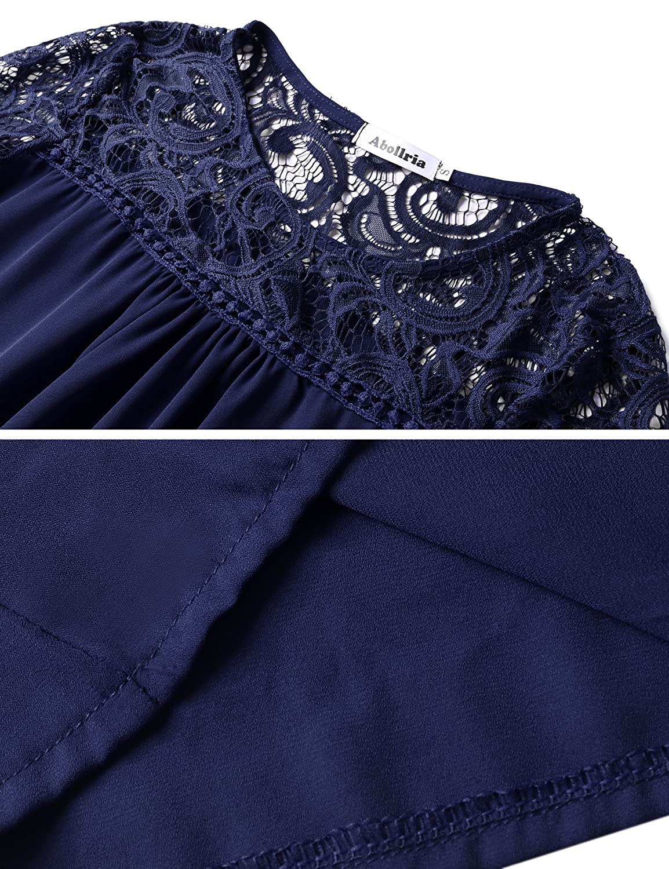 Abollria Camisa Elegante de Mujer con Bordado y Pizzo Blusa Manga Larga Pullover Ligero para Primavera Verano Oto/ño /…