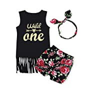 Baby Girl T-Shirt Clothes Wild One Vest and Floral Pants Outfits with Bowknot Headband (2-3T)