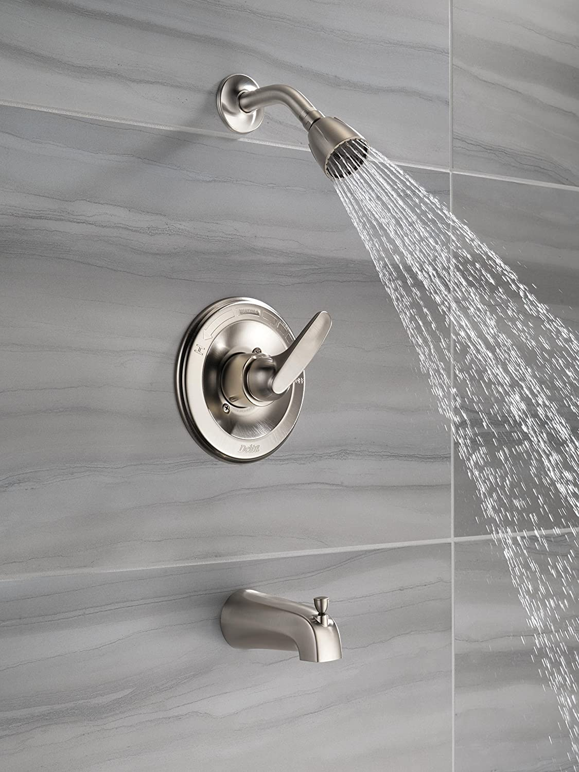 Delta Faucet Foundations Single-Function Tub and Shower Trim Kit with Single-Spray Shower Head, Stainless BT13410-SS (Valve Not Included) - Tub And Shower Faucets -