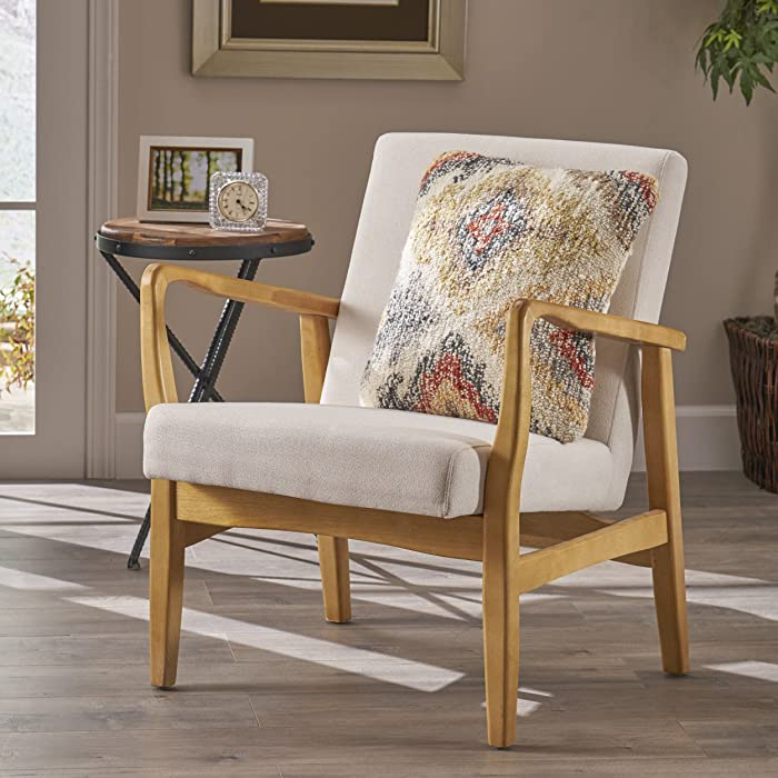 Christopher Knight Home 304656 Isaac Mid Century Modern Fabric Arm Chair in Ivory, Walnut