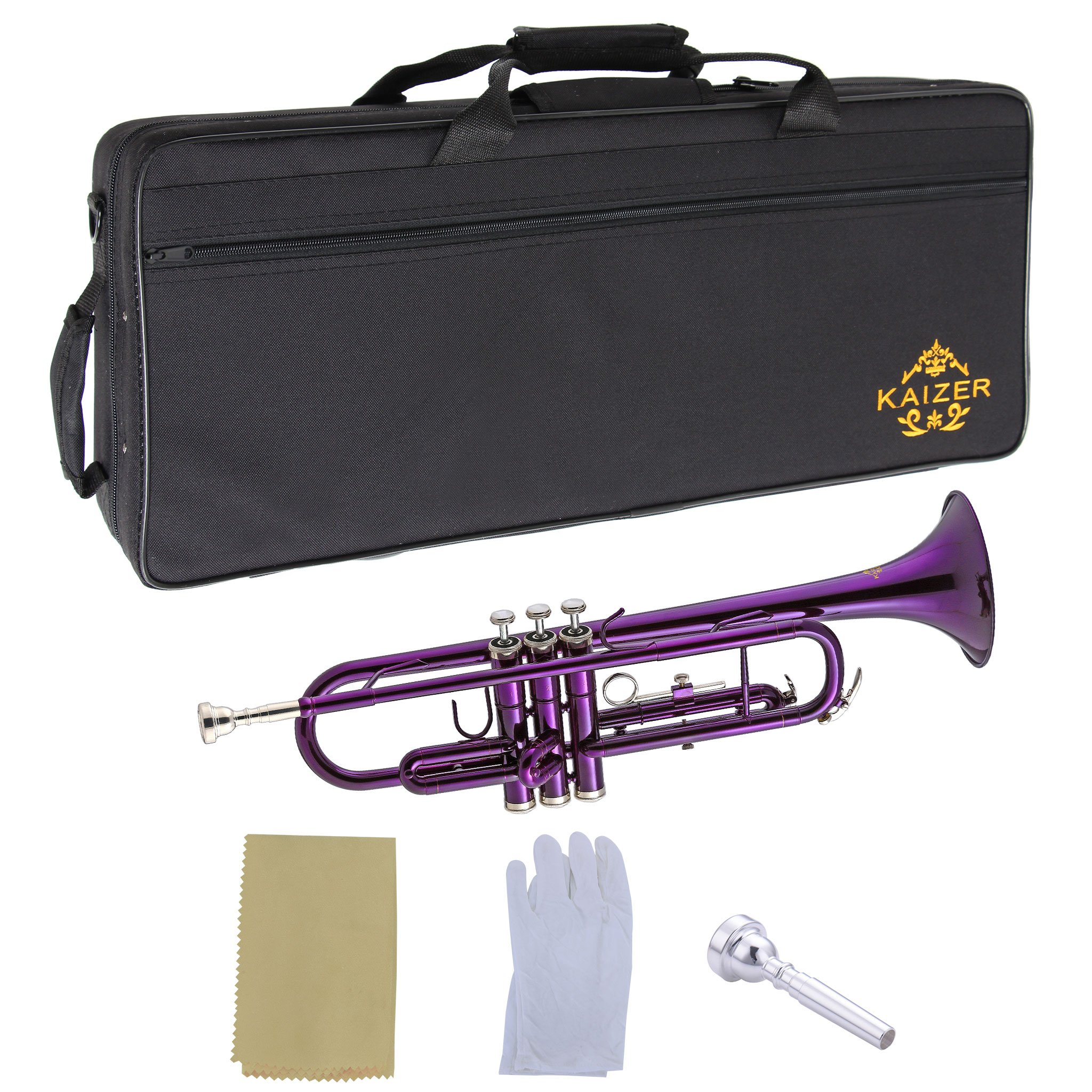 Kaizer Trumpet Bb B Flat Purple Includes Case Mouthpiece and Accessories TRP-1000PL