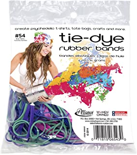 product image for Alliance Rubber 06543 Tie-Dye Rubber Bands, Non-Latex Assorted 2 oz Pack (Assorted Sizes and Colors -#12, #18, #32, #64)