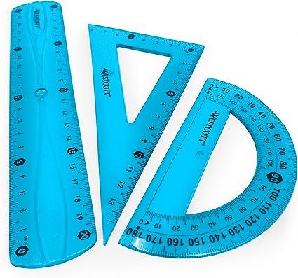 Westcott translúcido irrompible Flexible Regla – 3 piezas – incluye 20 cm regla, 2 escuadra y transportador de ángulos, color azul: Amazon.es: Oficina y papelería