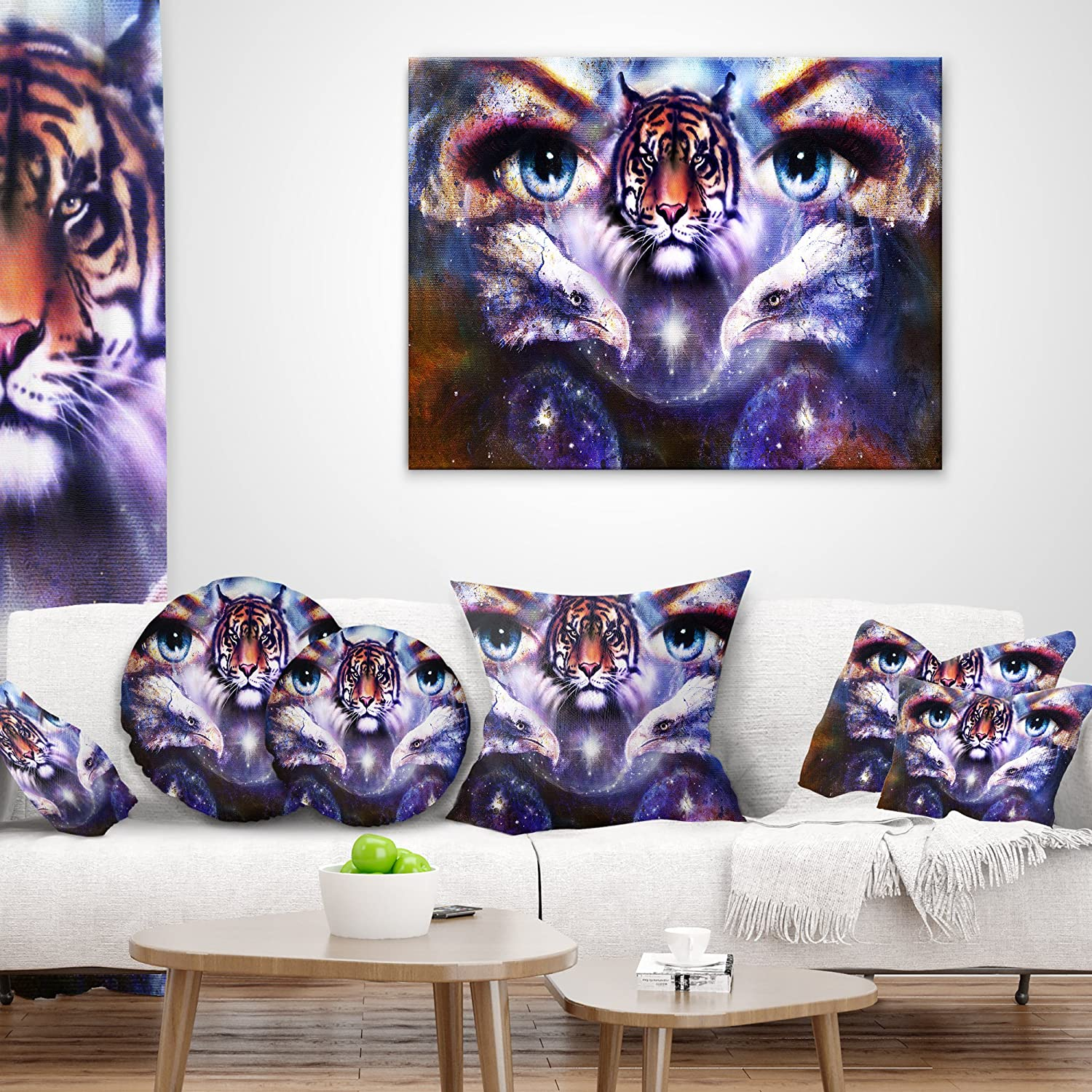 Hypoallergenic Pillow Insert x 18 in Cushion Cover Printed on Both Side Sofa 18 in Designart CU6087-18-18 Tiger Eagles and Woman Eyes Collage Animal Throw Cushion Pillow Cover for Living Room