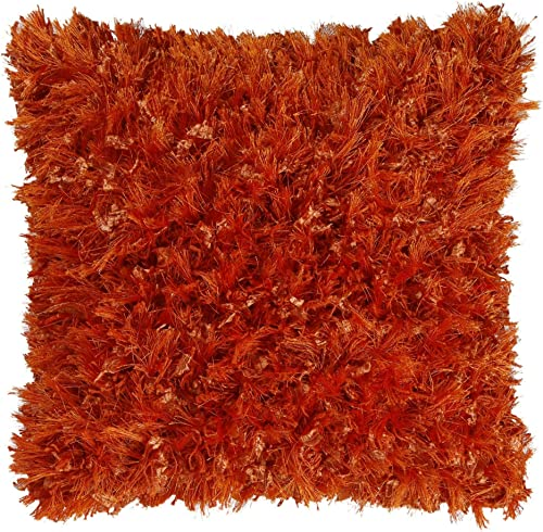 Shimmer Shag Orange 18 Pillow with