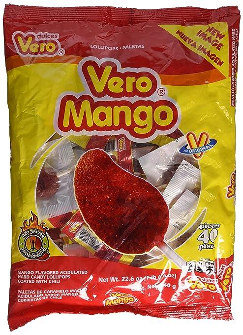 Vero Mango, Chili Covered Mango Flavored Lollipops, 40 Pieces