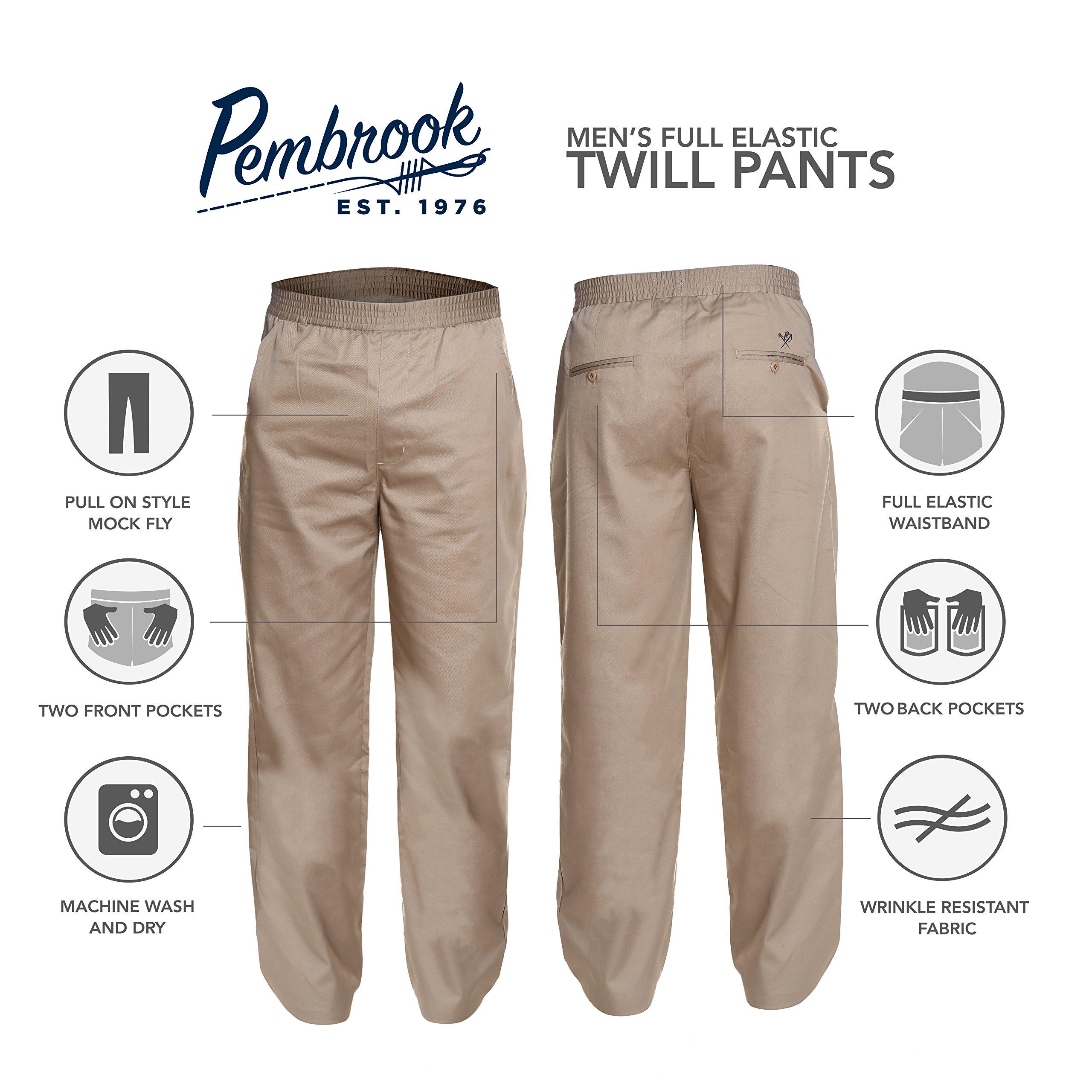 Pembrook Men's Full Elastic Waist Twill Casual Pant - L - Tan by Pembrook (Image #8)