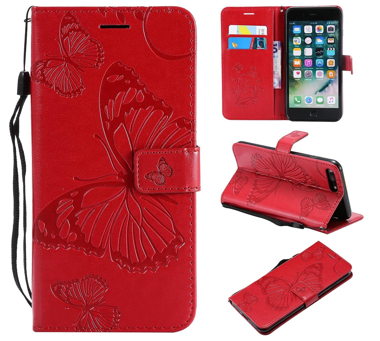 Coque iPhone 7 Plus / iPhone 8 Plus 5,5, Lomogo Papillons Housse en Cuir Portefeuille avec Porte Carte Fermeture par Rabat Aimanté Anti Choc Etui de Protection pour iPhone 7Plus / 8Plus (5,5 Pouces) - LOKTU21490 Orange 5