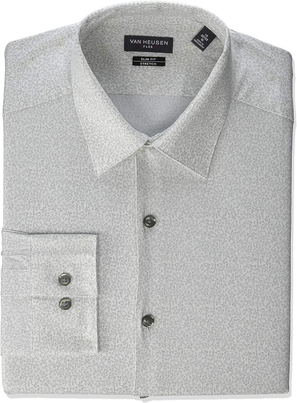 Van Heusen Mens Dress Shirt Flex Collar Stretch Slim Fit Print