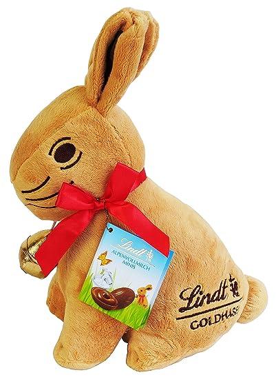 Lindt Conejo de Pascua peluche 28m con Lindt Chocolates, 100g