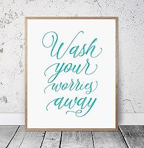 Wall Decor Sign, Bathroom Wall Decor Wash Your Worries Away Sign, Turquoise Bathroom Wall Hanging Art, Relax Bathroom Signs SPA Prints, Girl Bath, Wall Art Hanging Wood Framed Sign, 8 x 12 Inch