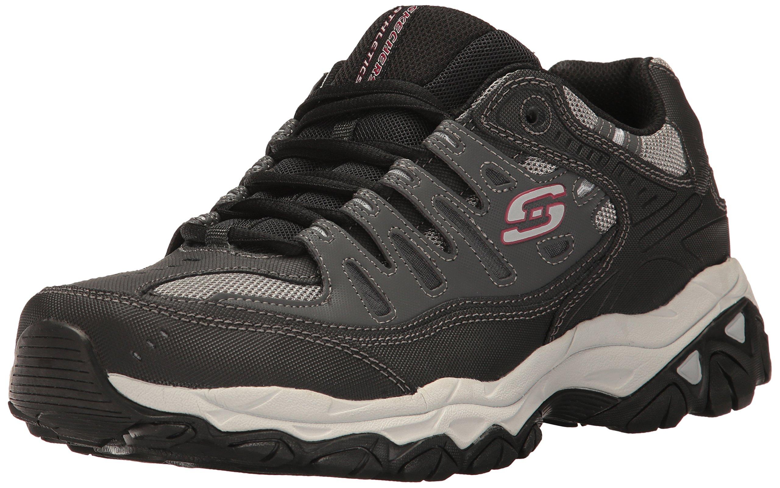 Skechers Men's AFTERBURNM.FIT Memory Foam Lace-Up Sneaker, Charcoal/black, 14 M US by Skechers