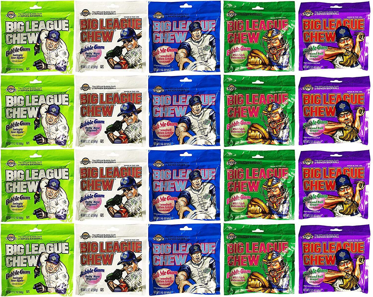Big League Chew Bubble Gum Variety Pack 5 Flavors (Pack of 20) by Big League Chew (Image #1)