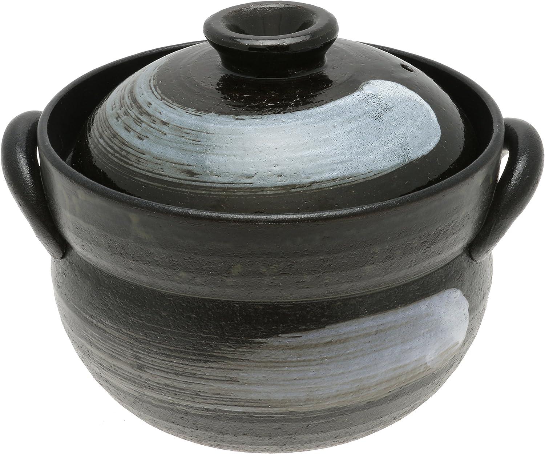 Kotobuki 190-810 Japanese Zen Brushstroke Earthenware Rice Pot, Black