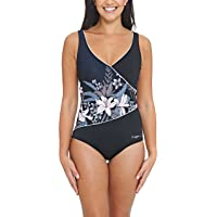 Zoggs Women's Wrap Front Eco Fabric One Piece Swimsuit with Tummy Control